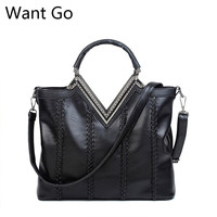 Want Go Women Classic Solid Color Tote Handbag Europen Style Lady Soft Pu Leather Shoulder Bag Hot Selling Girls Crossbody Bag
