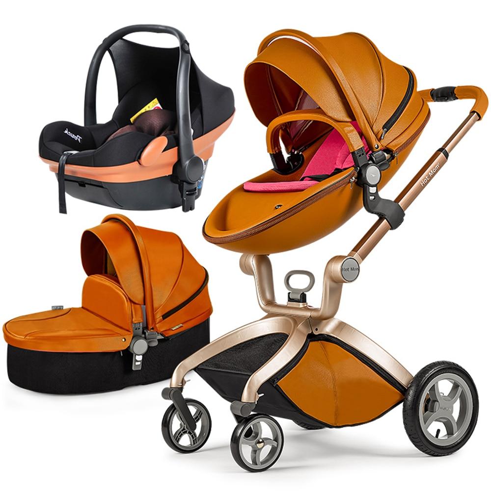 Original hotmum Baby Strollers Hot mum Stroller 3 In 1 Hot Mum Baby Strollers 0-36 Months Use Leather Material Luxury Products
