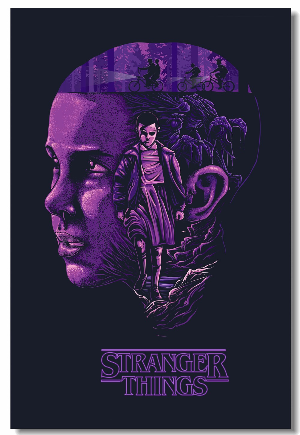Us 5 99 25 offcustom canvas wall mural stranger things tv series poster stranger things paintings eleven millie wall stickers wallpaper 0236 in