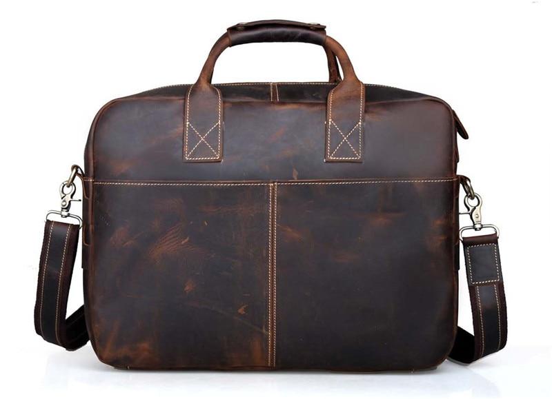 Horse 14 Starke Aktentasche Männer Nesitu Bags Messenger Portfolio M10192 Braun Crazy Dauerhaft Vintage Echtes Leder ''laptop SCSqwXpPx
