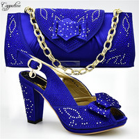 Latest party set matching high heel shoes and handbag set fashion pumps with bag for party 666 4