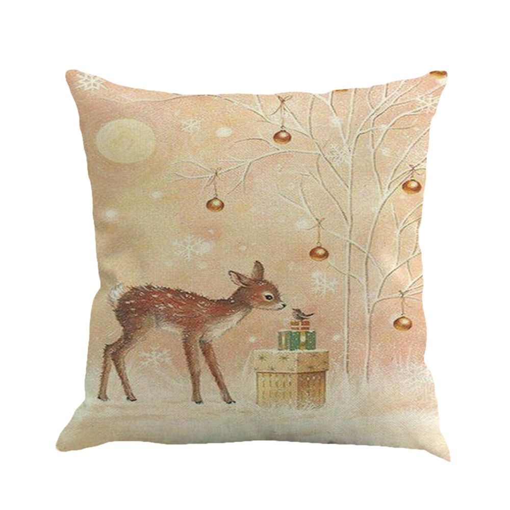 Image 3 - New Merry Christmas Simple Pillow Cover Fawn Printing Dyeing Bed Home Decor Pillow Cover Flax high quality car Pillowcover-in Cushion Cover from Home & Garden