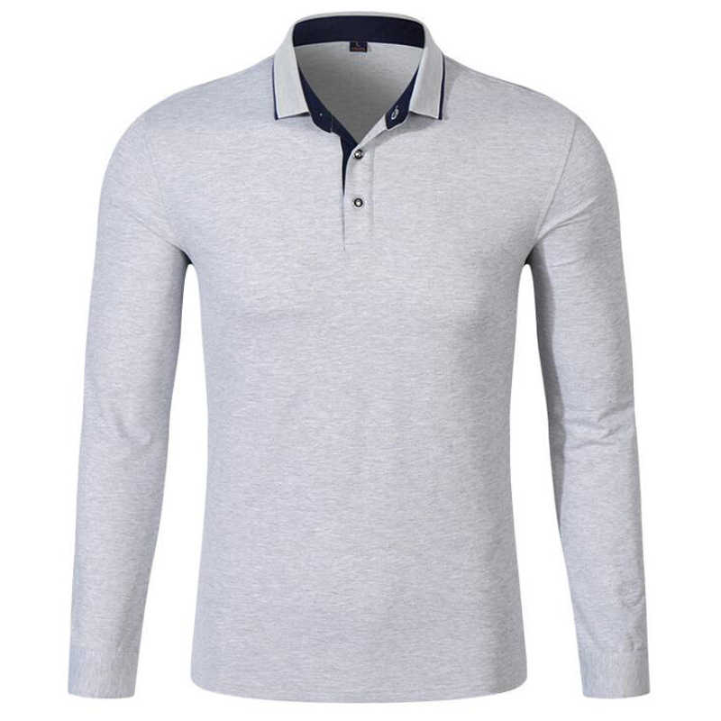 0776bb0be ... Men Long Sleeve Polo Shirts Mens Fashion Pearl Breathable Cotton  Golfsports Polo Shirt Men s Casual Turn ...