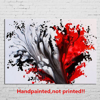Handpainted Modern Abstract Oil Painting On Canvas Home Decor Wall Art White Black Graffiti Paintings Pictures