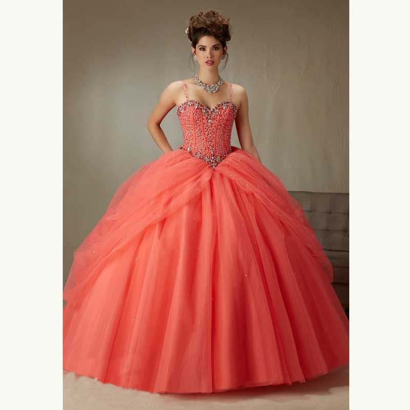New 2019 Red Blue Coral Quinceanera Dresses Ball Gown Organza With Spagnetti Beaded Sweet 16 Dress