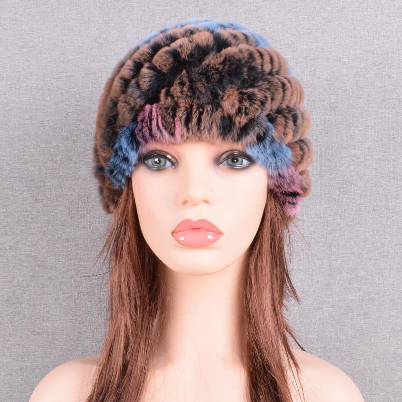 Raglaido Rabbit winter fur hat for Women Russian Real Fur Knitted Cap headgea Winter Warm Beanie Hats 2019 fashion brand LQ11279 44