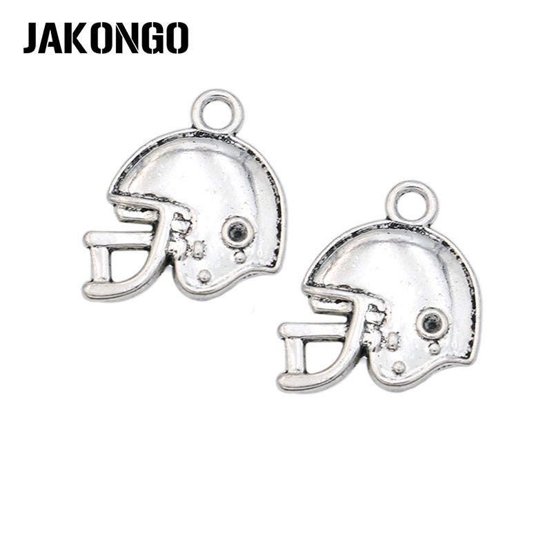 Antique Silver Football Helmet Charms Pendants for Jewelry Making DIY Handmade Craft 19x20mm