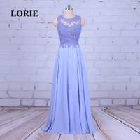 LORIE Long Evening Dress Free Shipping A Line Beaded Chiffon Floor Length Lace Blue Prom Dress Party Gown Mother of Bride Gown