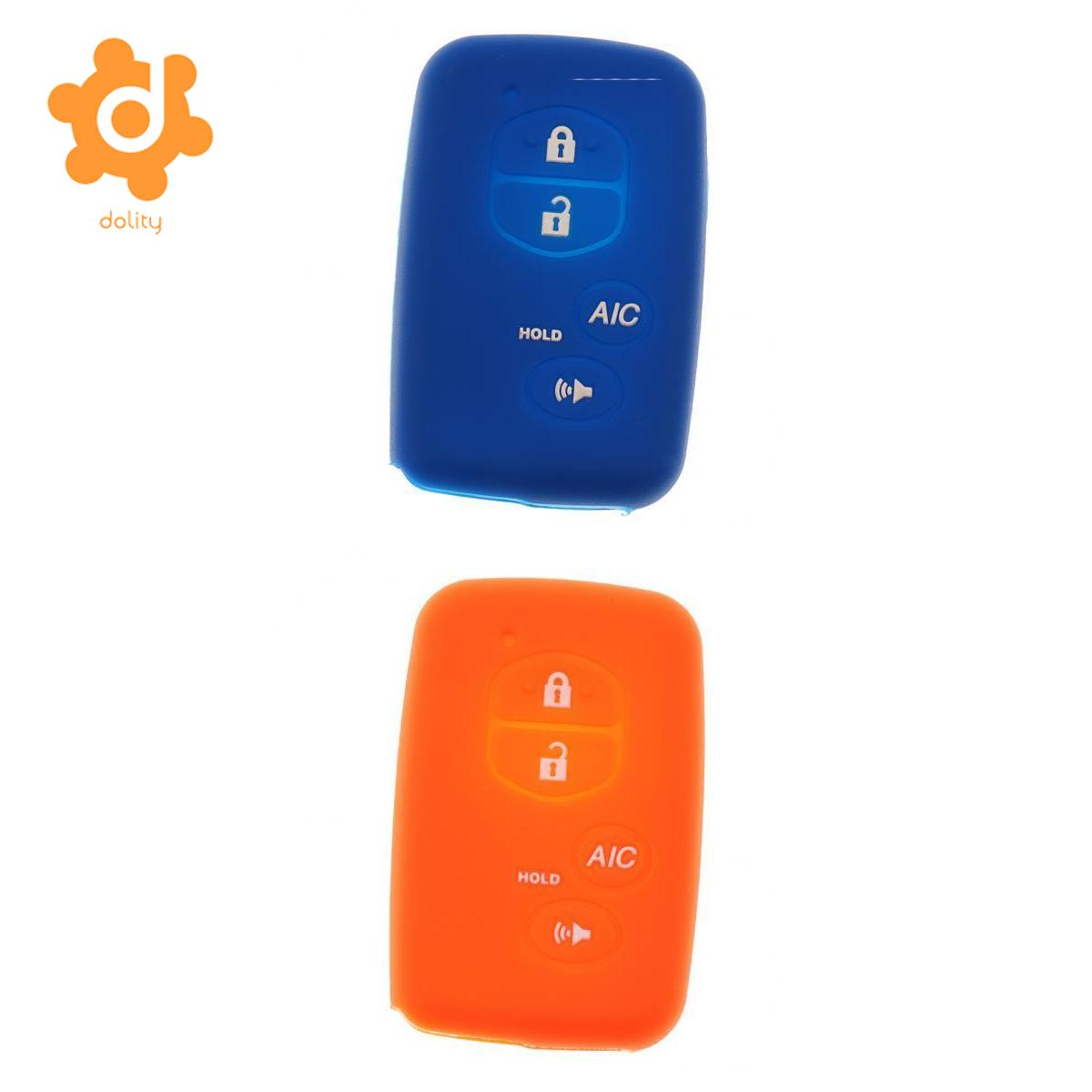 2pcs Deep Blue Orange Car Key Fob Protector Silicone Case Cover for Toyota