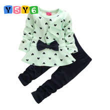 Retail 2018 new fashion girls clothing sets cotton children bow dress tops+leggings kids clothes suits roupas infantil meninas