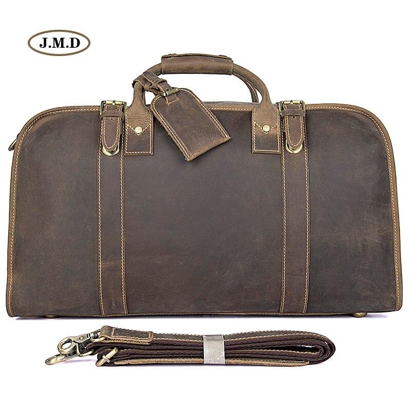 J.M.D Genuine Excellent Vintage Leather Unisex Fashion Simple Design Portable Travel Bag Business Briefcases Duffle Bag 6004R цена 2017