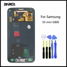 Хорошее Sinbeda Super AMOLED ЖК-дисплей Сенсорный экран планшета Панель для Samsung Galaxy S5 мини G800 G800F ЖК-дисплей Дисплей + кнопка домой сборки