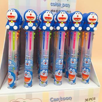 36 pcs/lot Doraemon 6 colors Ballpoint Pen Cartoon animal ball pen School Office writing Supplies Stationery Gift