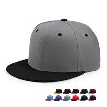 96038489be8 Wholesale Hip Hop Flat Peaked Cap Adult Solid Color Patched Baseball Hat  Women and Men Logo Custom Plain Snapback Cap 33 Colos