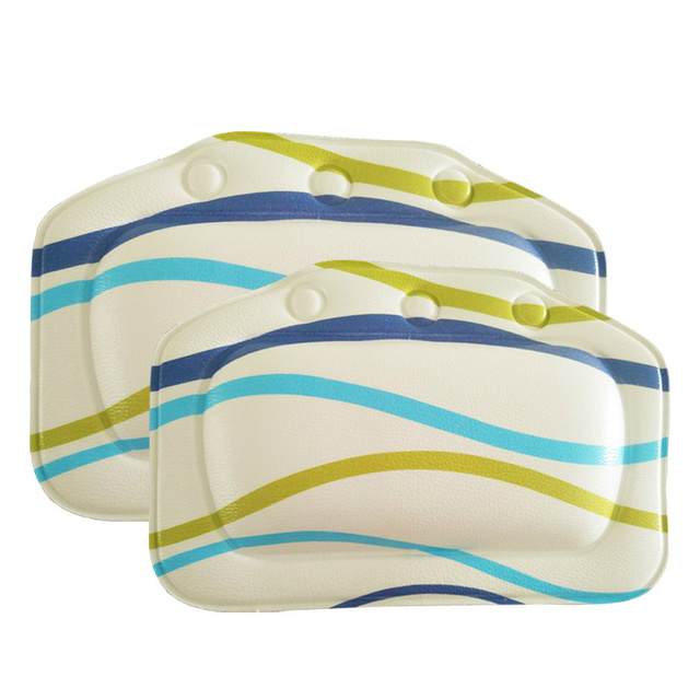 Buy Stripe Pattern PVC Comfortable SPA Bath Pillow Headrest Suction Cup Soft Bathtub Pillows Bathroom Products 21 31cm 1PC From