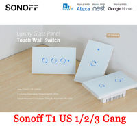 Sonoff T1 US 1/2/3 Gang Smart Touch Light Switch AC 90V 250V Smart Switch WiFi RF Remote Control Timing Countdown Wall Switch