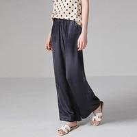 PIXY 100% тяжелый шелк широкие брюки 19 мм темно синий палаццо брюки женские повседневные длинные брюки роскошные мягкие низ spodnie damskie