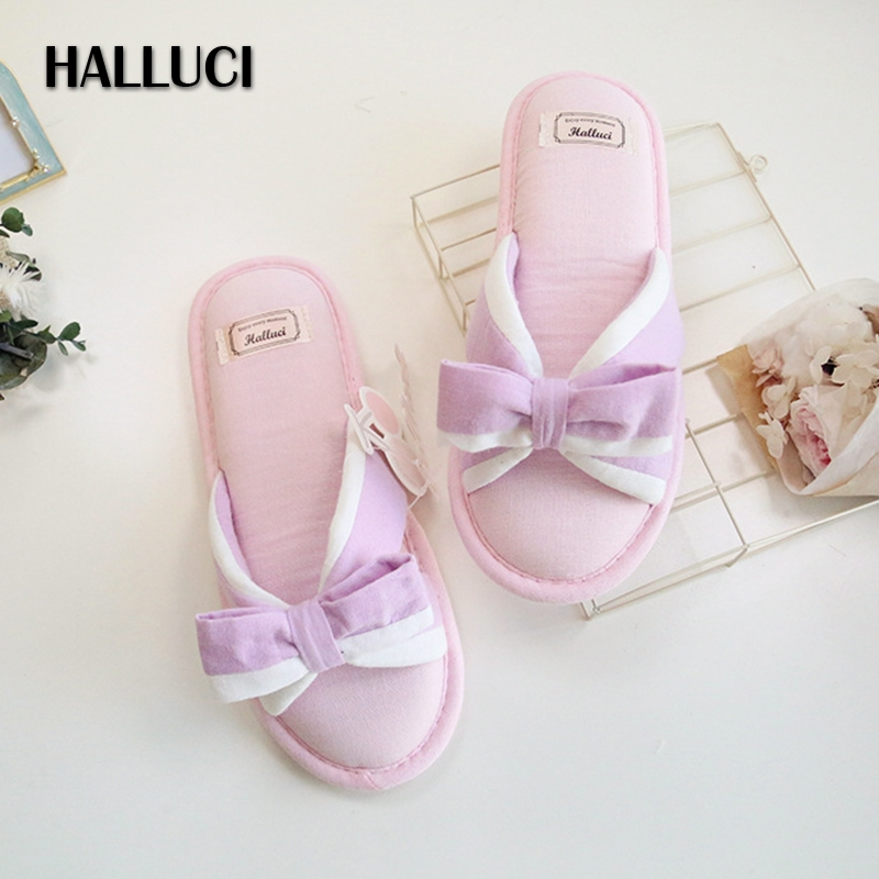 HALLUCI Pink sweet bowknot cotton home slippers women candy color princess shoes flip flops bedroom slippers for women halluci breathable sweet cotton candy color home slippers women shoes princess pink slides flip flops mules bedroom slippers