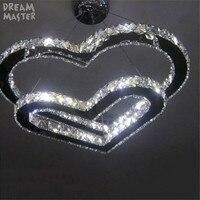 Новый светодио дный светодиодный хрустальный подвесной светильник из нержавеющей стали сердце в сердце современный шнур подвесной светил