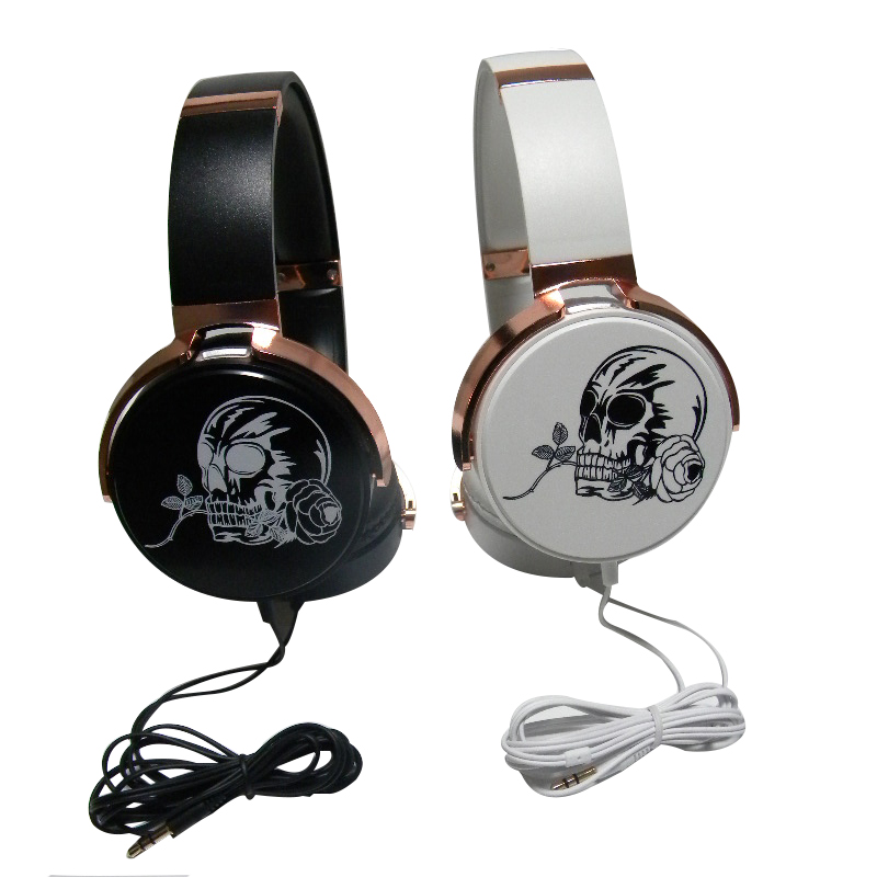 cool Headband Skull wired headphone Crossbones earphone Skeleton sport headset Stereo music headphones