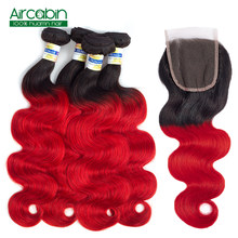 Ombre Body Wave 4 Bundles with Closure T1B/Red Dark Roots Brazilian Human Hair with Closure Non Remy AirCabin(China)
