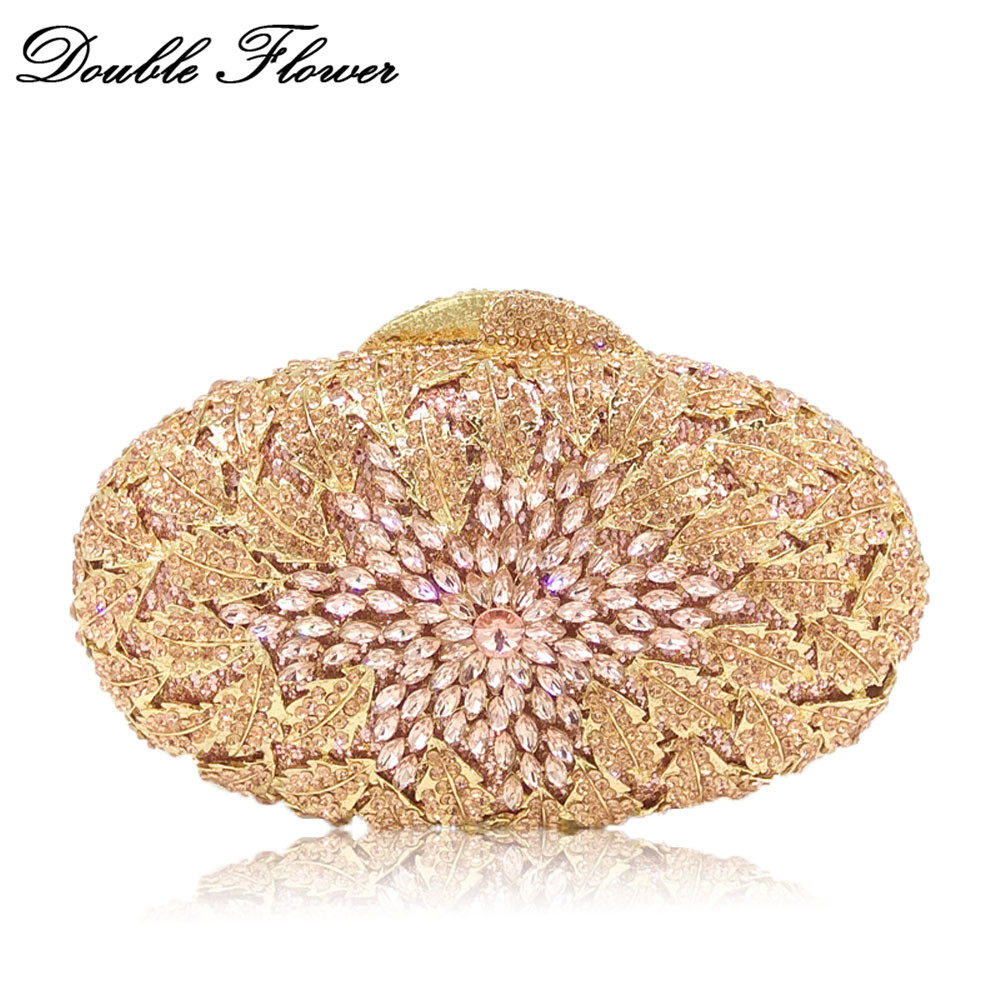 Double Flower Sparkling Bling Hollow Out Flower Champagne Peach Crystal Women Evening Minaudiere Bags Wedding Clutch Handbag women flower hollow out peach champagne crystal rhinestone evening clutch bag wedding bridal metal handbag clutches