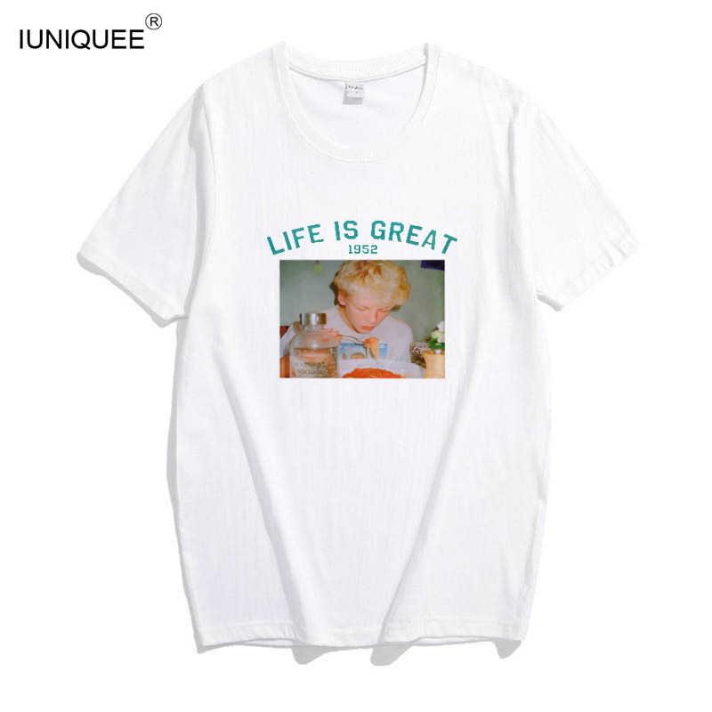 Spoof harajuku branco feminino camiseta 2017 t verão novidade camiseta femme vida é chato letras impressão mulher tshirt
