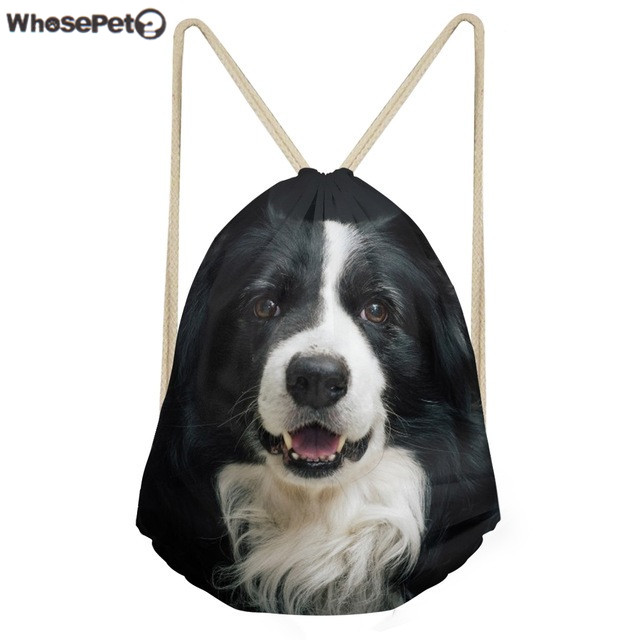 WhosePet Women Backpack Cute 3D Dog Border Collie Drawstring Bag Teenager  Girls Storage Package Bags Fashion Small Cinch Bagpack