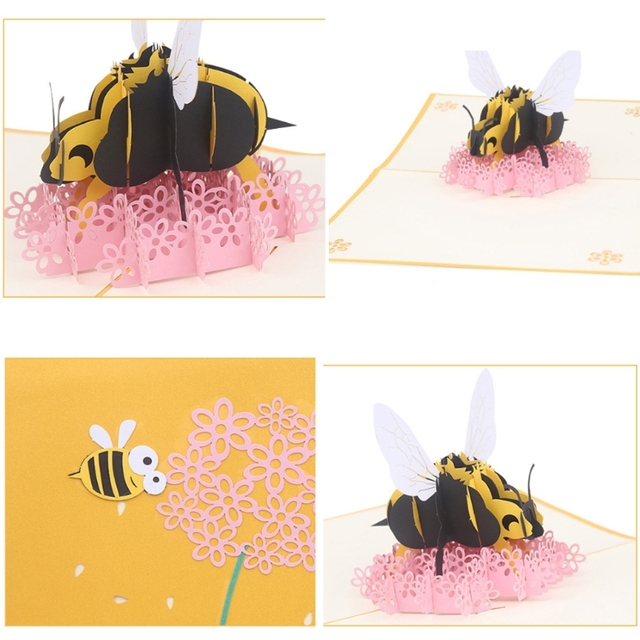 Bee flower greeting cards handmade birthday wedding invitation 3d bee flower greeting cards handmade birthday wedding invitation 3d pop up card for letter christmas greeting m4hsunfo