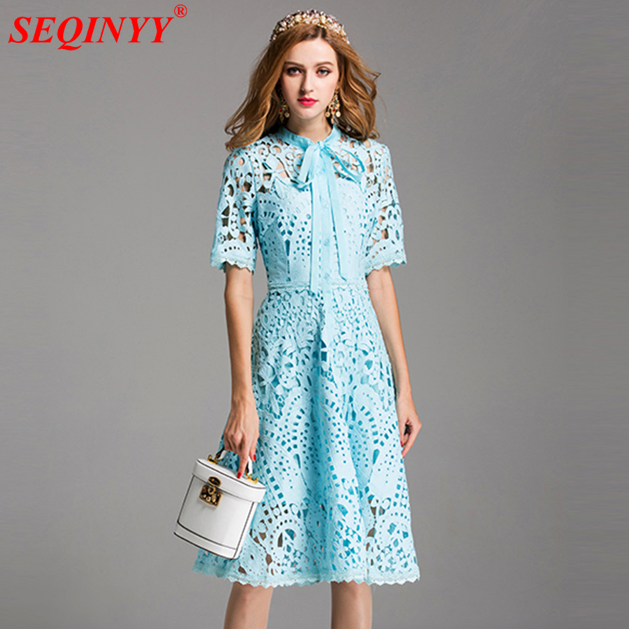 Lace Dresses Hollow Out Flowers Women 2017 Summer Runway New Short Sleeve A-Line Bow Ladies Light Blue Knee Length White Dress