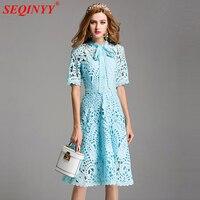 Lace Hollow Out Blue Dresses Women 2017 Summer Short Sleeve Front Button Through Short Sleeve A