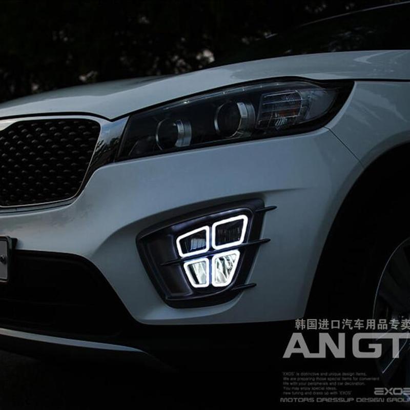 Hireno Super-bright LED Daytime Running Light For KIA Sorento 2015-2017 Car LED DRL Fog Lamp 2PCS