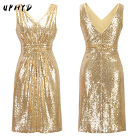 Double V Neck Sleeveless Summer Lady Night Party Dresses Short Sequin Gold Dress RP1227