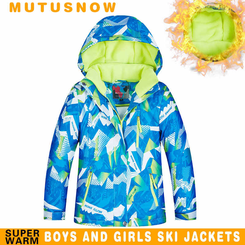 Ski Jacket Boy Winter Brands 2019 High Quality Waterproof Breathable Thicken Super Warm -30 Degrees Snowboard Ski Jacket Kids