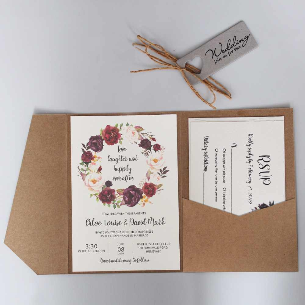 Wedding Invition Cards.Vintage Pocket Wedding Invitations Rustic Invitation Cards Customized Wedding Invited With Kraft Paper Envelope Set Of 50