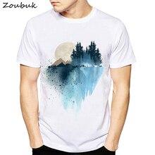 d32b19d74510 New men t shirt pines moon mountain design watercolor print tshirt summer  short sleeve tops white