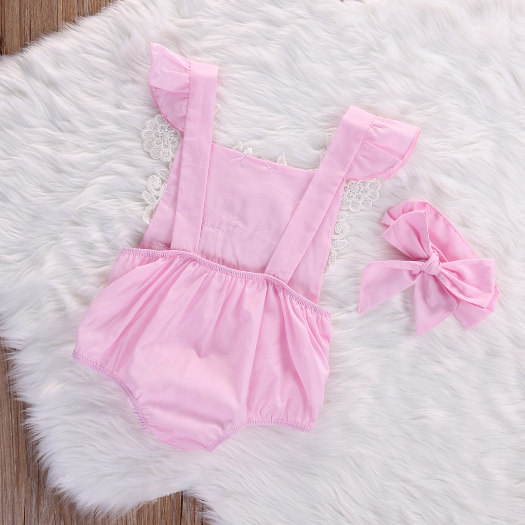 Cute Newborn Baby Girls Bodysuit Lace Floral Pink Bodysuit Jumpsuit+Headband Outfits Sunsuit Clothes 4
