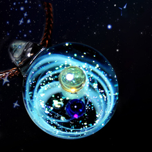 Two Planets Universe Glass Bead Pendant Necklace Galaxy Rope Chain Solar System Design for Women Christams Gift