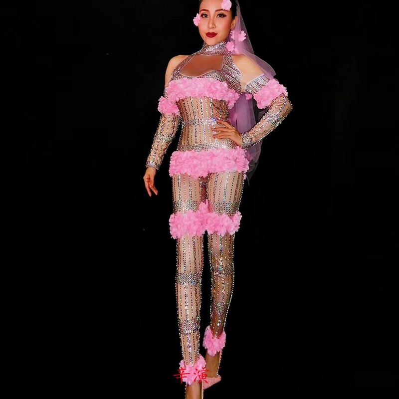 Модные Розовые цветы комбинезон Стразы один большой кусок стрейч костюм женский наряд на день рождения этап певица танцевальное шоу носить