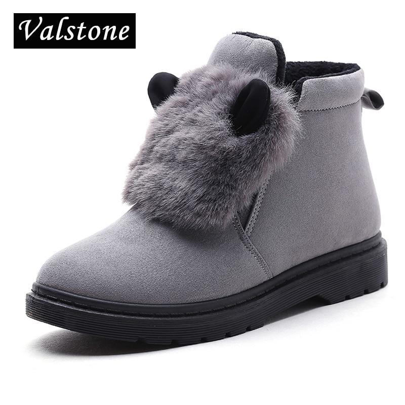 Valstone 2017 Hot sale women winter Shoes natural Rabbit fur ears Ankle boots Warm snow boots flock platform fashion sneakers