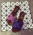 2016 da marca de jóias h002 azul marinho / Fuchsia Glitter mulheres de couro apartamentos, 4 cores sandálias chinelos sapatos branco / Flip Flops preto