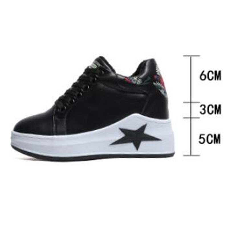 Spring and autumn new increase in women 39 s shoes thick soled casual wild wedges increased female small white shoes sneakers in Women 39 s Vulcanize Shoes from Shoes