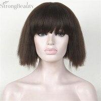 Forte Beauté Synthétique Court Yaki Droite Perruque Neat Bang Bob Style Cheveux Noir/Blonde Pleine de Femmes Perruques 3 couleurs