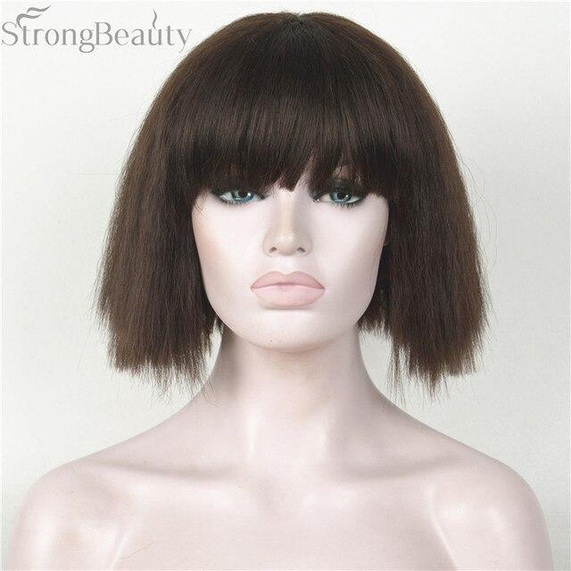 Forte di Bellezza Sintetico Breve Yaki Parrucca Diritta Neat Bang Bob Hair  Style Nero Bionda 7e0967122cc4