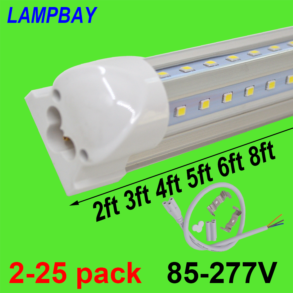 2-25 шт. v-образный светодиодный трубки огни 2ft 3ft 4ft 5ft 6ft 8ft 270 угол лампы T8 Integrated приспособление Linkable бар лампа супер яркий