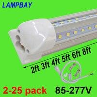2-25 шт v-образный светодиодный трубки огни 2ft 3ft 4ft 5ft 6ft 8ft 270 угол лампы T8 интегрированный прибор Linkable бар лампа супер яркий