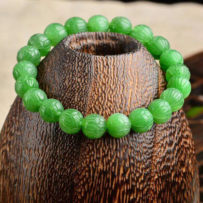 Fine Green Natural Stone Bracelet Caved lotus beads bracelets Beauty for Women Girl New Year Gift Crystal Simple Noble Jewelry long yi lotus garnet bracelet bracelets jewelry beads jewelry and accessories to carry 8000437