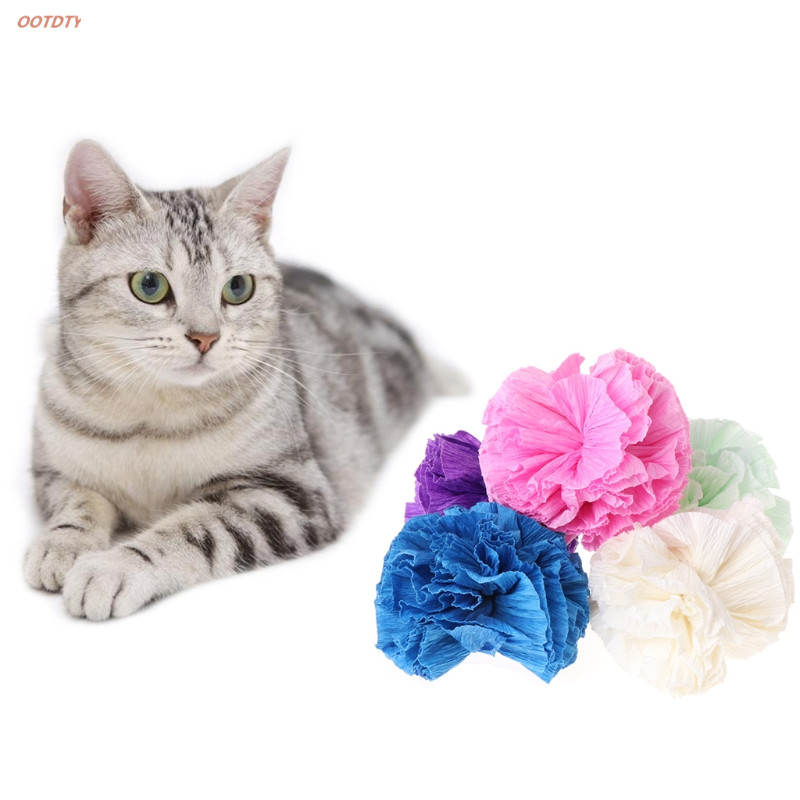 Home & Garden Flight Tracker 5pcs Cat Toys Colorful Paper Ball Dogs Puppy Kitten Chew Bite Interactive Funny