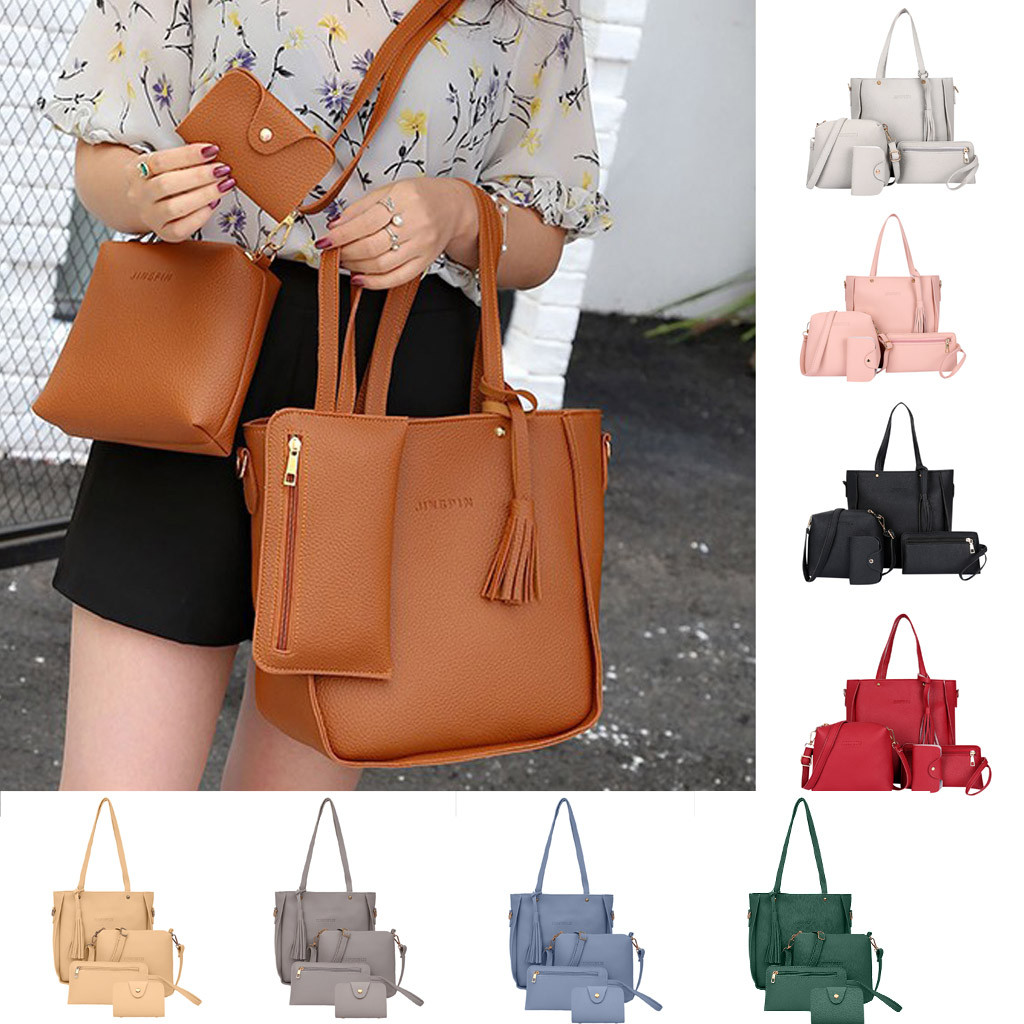 4 PCS Woman Bag 2019 New Fashion Four-Piece Shoulder Bag Messenger Bag Wallet Handbag High Quality Casual Travel