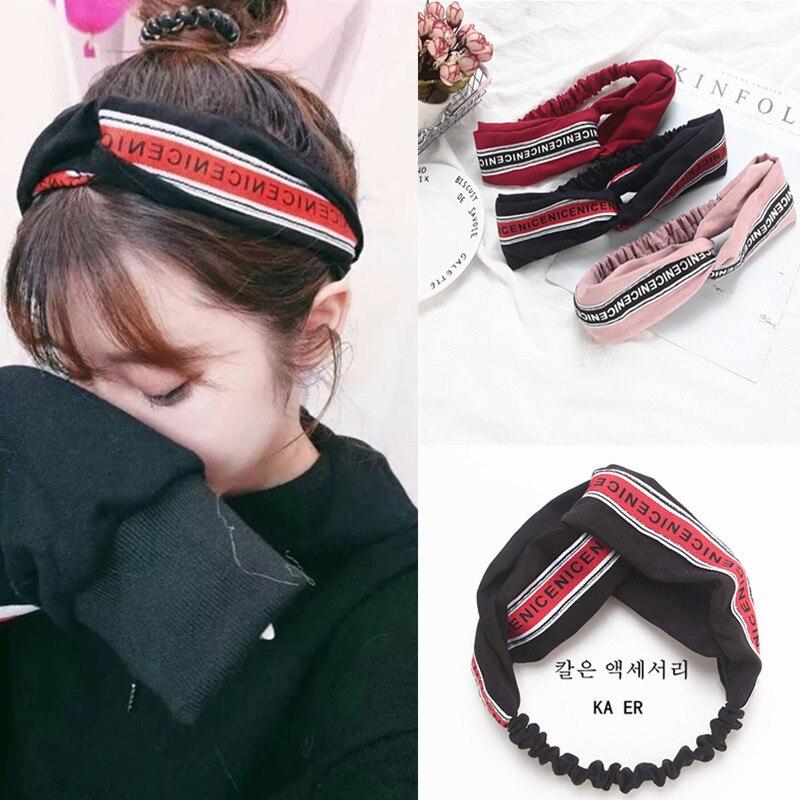 Synthetic Leather HairBand Turban Alphabetical cross Elastic female Headbands   Headwear   Headwrap for Women Girls hair accessories